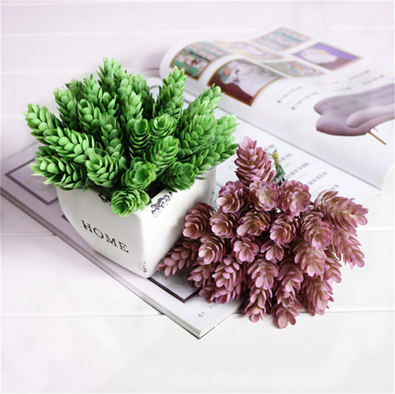 1  Bouquet 6 pcs Home Decor High Simulation Green Plant Pineapple Grass Home Decoration Artificial Flower Plant P0