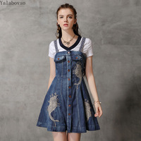 2019 new women's dress Female jeans national style summer dress Vintage embroidery A line dress for woman A50Z40 A82170