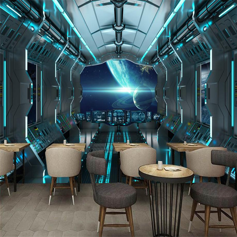 modern custom 3d high quality wallpaper large KTV  bar background wall mural stereoscopic personality space capsule wallpaper