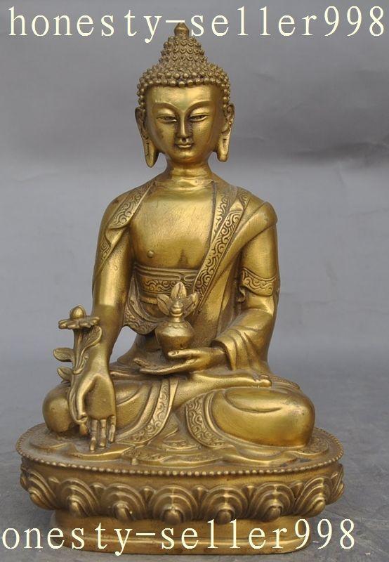 8Tibet Buddhism Fane Joss brass sakyamuni Shakyamuni Medicine Buddha statue 8Tibet Buddhism Fane Joss brass sakyamuni Shakyamuni Medicine Buddha statue