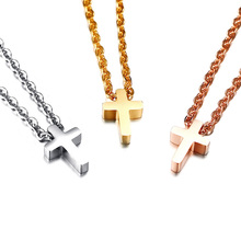 """Religious Jewellery 13x9mm Tiny Cross Necklace in Stainless Steel with 20"""" Free Chain – Silver, Gold, Rose Gold"""