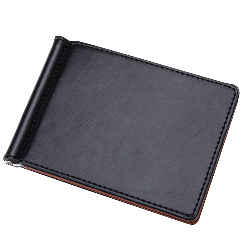 New Ultra Thin Men's Money Clips Brief Design PU Leather Solid Dollar Purse Clips For Man Short Card Holder Wallets