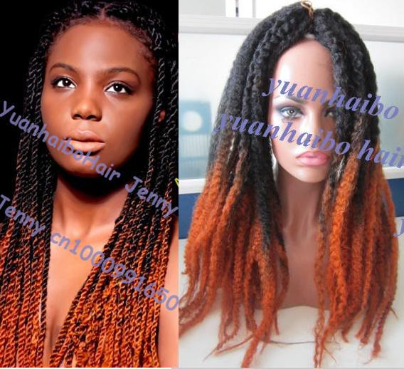 Stock 20inch Ombre Two Tone Black Gold Kinky Twist Synthetic