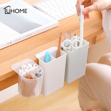 2/4 Grid Makeup Storage Box Desktop Pen Holder Pasteable Hanging Storage Case Plastic Box Desk Pencil Makeup Brush Organizer
