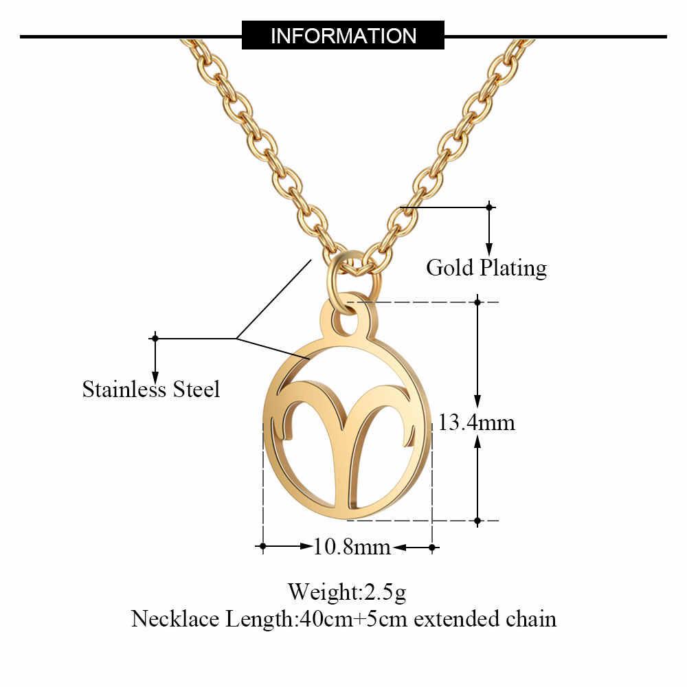 Cxwind 12 signo do zodíaco pingente colar horóscopo de aço inoxidável astrologia redonda gargantilha colar para mulher constelação jóias