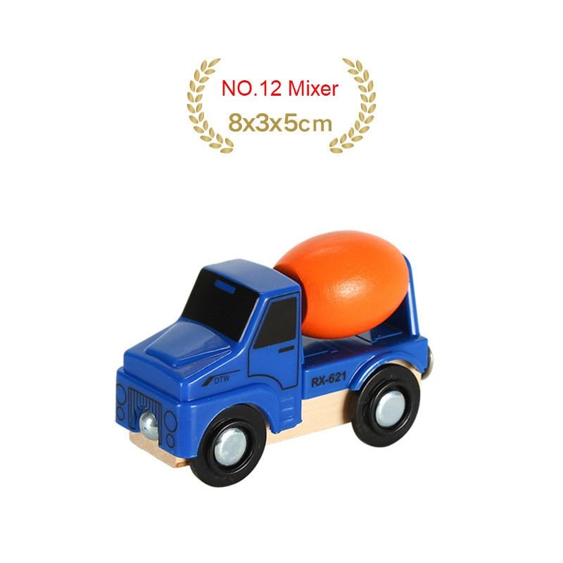 EDWONE деревянный магнитный Поезд Самолет деревянная железная дорога вертолет автомобиль грузовик аксессуары игрушка для детей подходит Дерево Biro треки подарки - Цвет: NO.12 Mixer