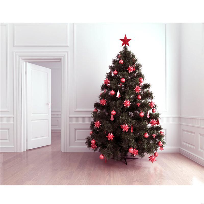 NICEXMAS 4.5 inch Treasures Red Glittered Mini Star Christmas Tree ...