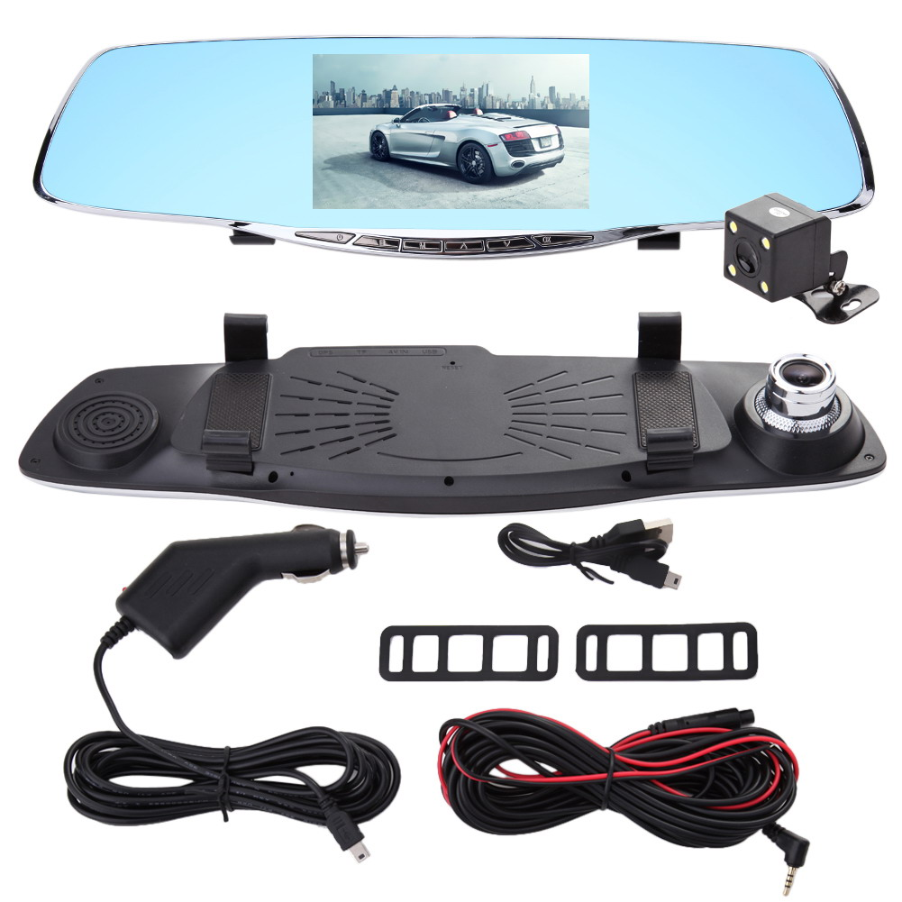Dual Lens 1080P Car DVR 5 Inch Car Rearview Mirror Digital Video Camera Recorder Car Accessories With Original Package