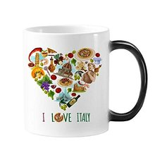 Italy Heart Leaning Tower  Rome Colosseum Morphing Heat Sensitive Changing Color Mug Cup Gift Milk Coffee With Handles 350 ml mug lefard 350 ml with deer