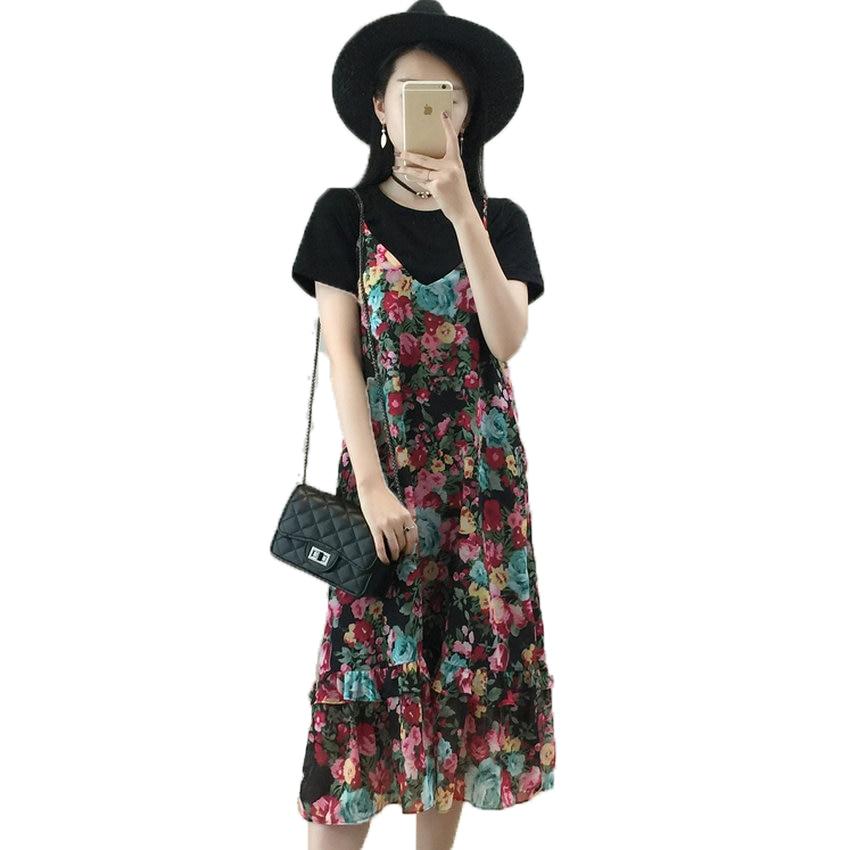 WAEOLSA - store WAEOLSA Woman Flower 2 Piece Dress Set Summer Women's Black T-shirt With Shoulder-straps Dresses Suits Plus Size Ensemble Femme