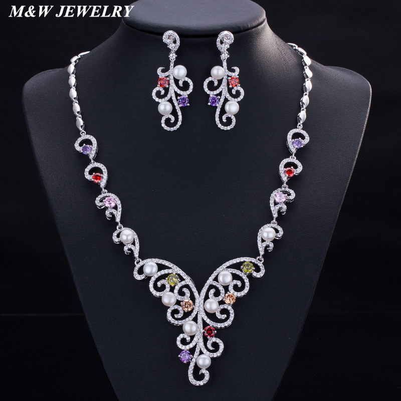 M&W JEWELRY 2017 New Fashion Bridal Set Pure hand inlaid AAA zircon for womens necklace Simple and elegant atmosphere Hot Set