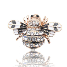 High Quality Bee Brooches Enamel Esmalte Broches Pin Gold Plated Champagne Rhinestone Hijab Pins juego de tronos Halloween joyas