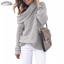 RONNYKISE Turtleneck Pullover Sweaters Womens Fashion Knitwear Long Sleeves Autumn and Winter Knitting Tops