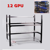 Stackable Frame 12 GPU Graphics Card Open Air Miner Frame Aluminum PCI E Cable Computer Case