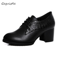 Women Elegant Genuine Leather Shoes Square High Heel Pumps Fashion Women Shoes