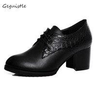 Women Elegant Genuine Leather Shoes Square High Heel Pumps Fashion Women Shoes