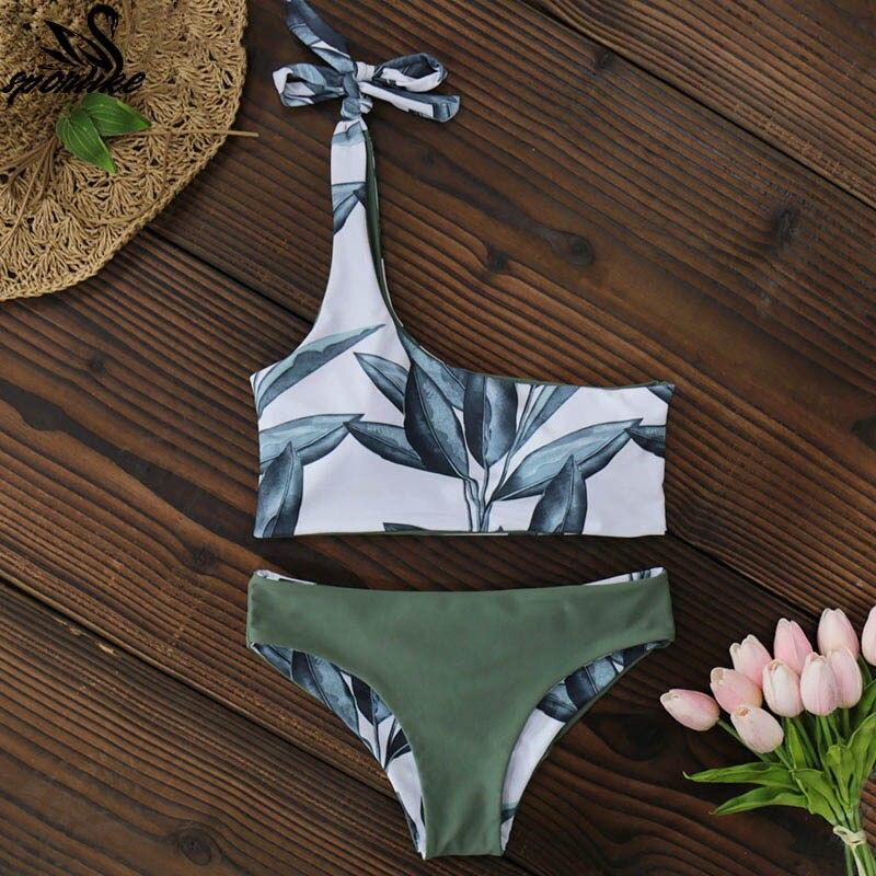 New One Shoulder Leaves Print Bikini 7