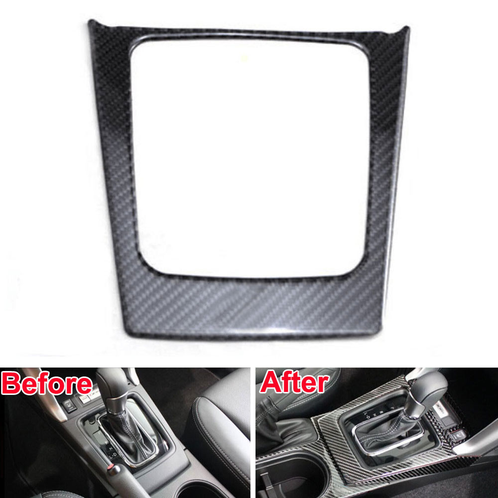 Carbon Fiber Console Gear Shift Box Cover Trim Frame Interior Decor Car Styling Sticker Molding For Subaru Forester 2014 2015 console center gear shift shifter panel cover trim frame stickers car styling fit for chevrolet camaro 2017 interior accessories