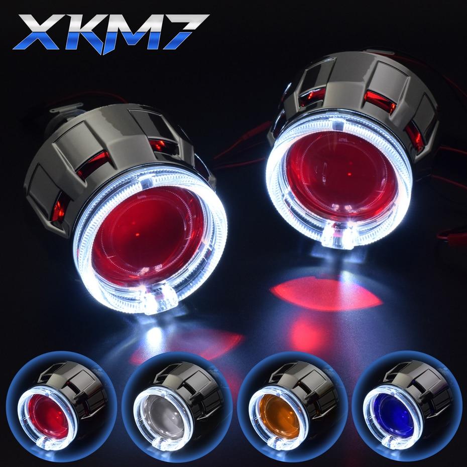 HID projecteur phare Bixenon lentille rénovation ange démon diable yeux LED feux de jour 2.5 H1 H4 H7 Auto/moto Kit