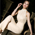 Summer new fashion top sleeveless elegant women's long lace chiffon jumpsuit