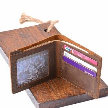 bab1e9d08 100% carteras de cuero de vaca genuino monedero plegable Vintage Crazy  Horse cuero embrague hombres carteras Retro bolsillo moneda hombres carteras
