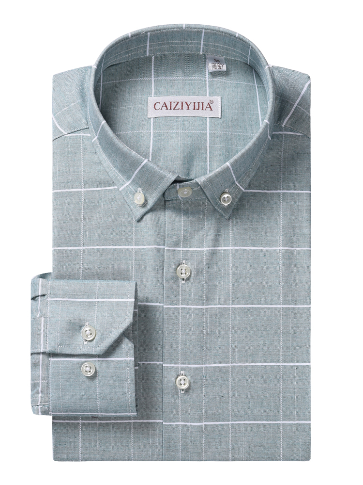 Men's Long Sleeve Plaid Checked Casual Shirts Comfortable Soft 100% Cotton Standard-fit Button-down Collar Dress Shirt