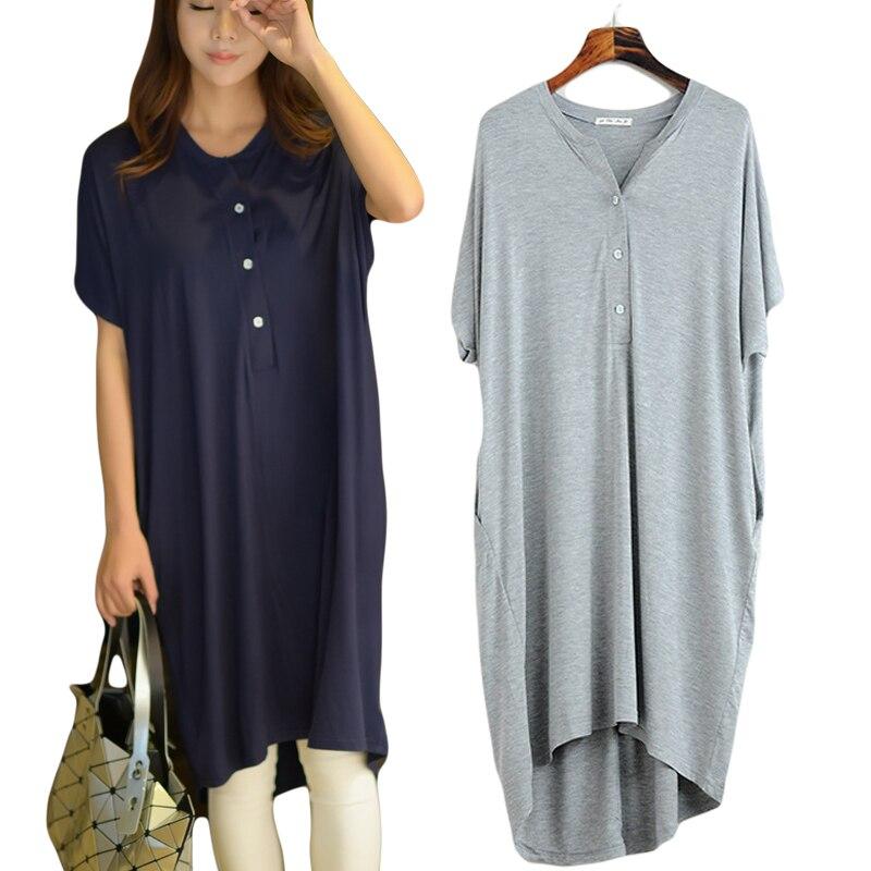 Mulheres Nightgowns Sleepwear Verão Casual Vestidos de Noite Plus Size vestidos de Manga Curta Loose women Nightdress Roupa Em Casa