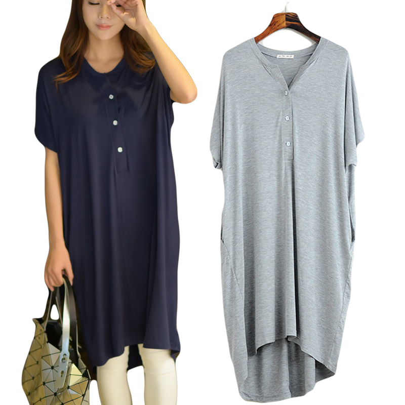 US $12.5 13% OFF|Women Nightgowns Summer Sleepwear Casual Night Dresses  Plus size Short Sleeve dresses women Loose Nightdress Home Clothes-in ...