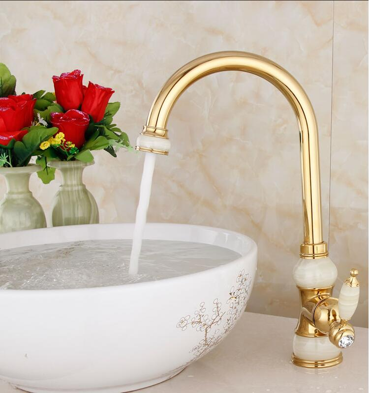 Fashion gold hot and cold single lever kitchen Faucet Jade and Brass sink faucet tap bathroom basin faucet sink tap free shipping luxury water tap swival brass chrome kitchen faucet tap single hole cold and hot bathroom kitchen sink faucet