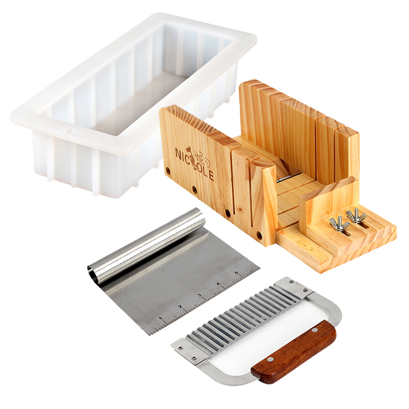 Nicole Silicone Mold Soap Making Tool Set-4 Adjustable Wooden Loaf Cutter Box 2 Pieces Stainless Steel Blades and 10MouldNicole Silicone Mold Soap Making Tool Set-4 Adjustable Wooden Loaf Cutter Box 2 Pieces Stainless Steel Blades and 10Mould