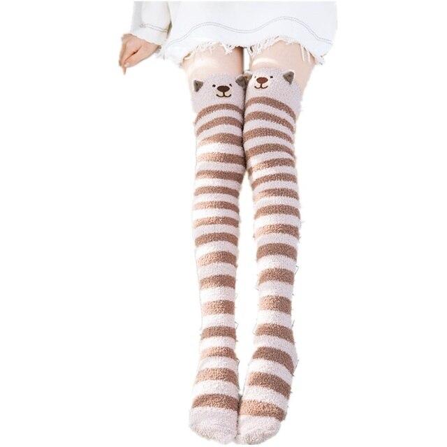 054176d95 2018 Hot Japanese Girl Animal Modeling Knee Socks Striped Cute Lovely Kawaii  Cozy Long Thigh High Socks Winter Warm Stockings