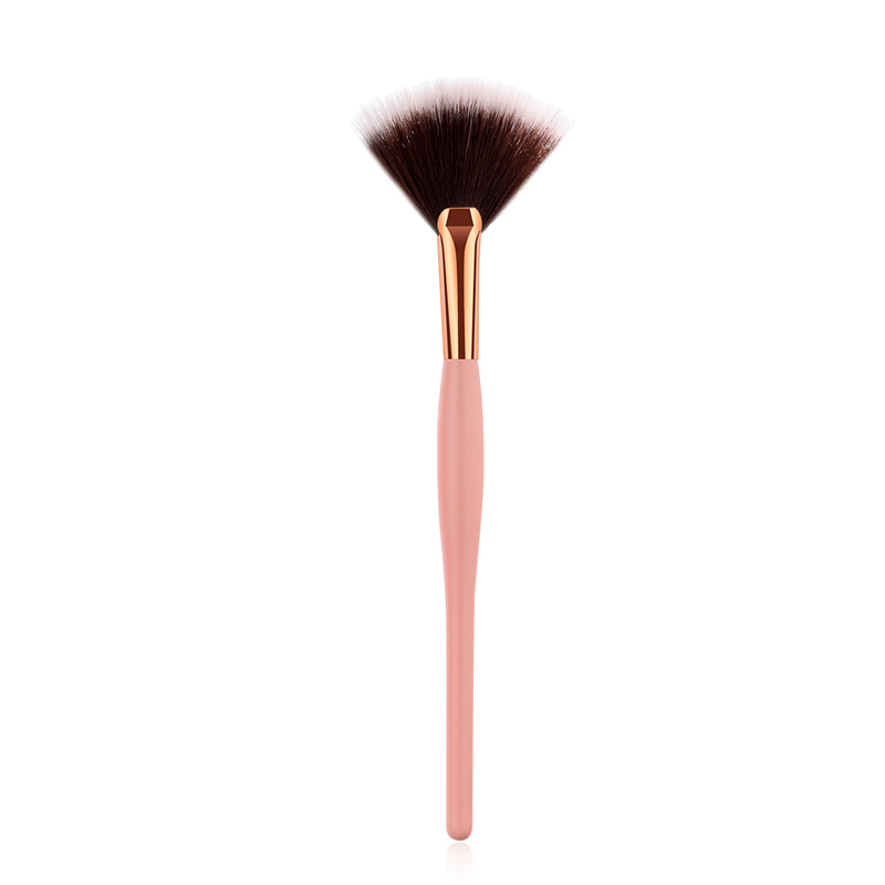1Pcs Mini Fan Brush Cute Makeup Brushes High Quality Black Hair Blending Brush Eyeshadow Gold Aluminum Contour Blush Brush