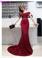 2019 Dark Red Mermaid Long Evening Dresses Off the Shoulder Corset Back Women Formal Evening Party Gowns Elegant Custom Made