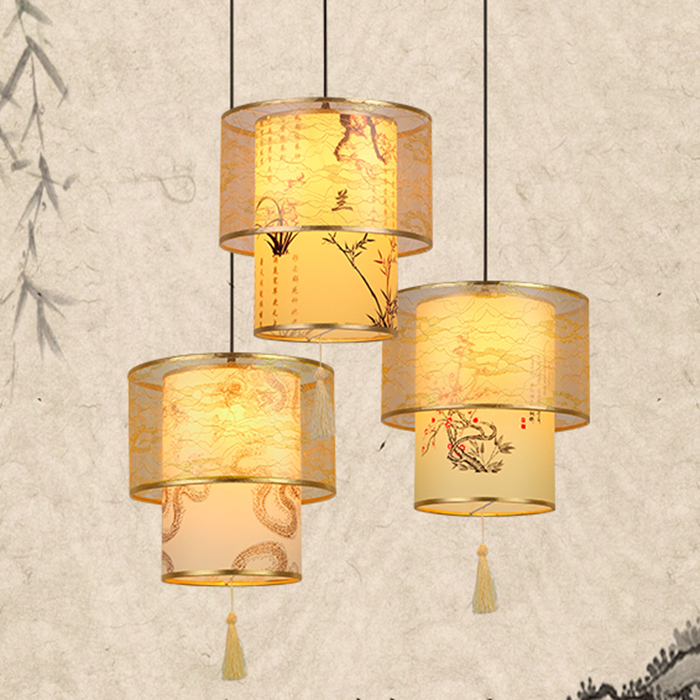Small of modern Chinese antique parchment head single bedroom living room hotel restaurant hall restaurant pendant light ZH living room chairs hotel hall restaurant