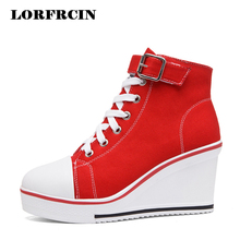 Women Wedges Causal Shoes Woman Breathable Platform White Canvas Shoes Hidden Wedge Shoe  Womens Trainers Zapatillas Mujer