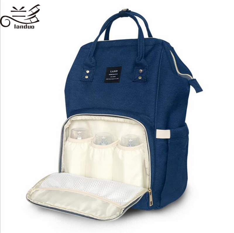 HTB1AKPVmgKTBuNkSne1q6yJoXXaB Authentic LAND Mommy Diaper Bags Mother Large Capacity Travel Nappy Backpacks anti-loss zipper Nursing Bags for baby  MPB01