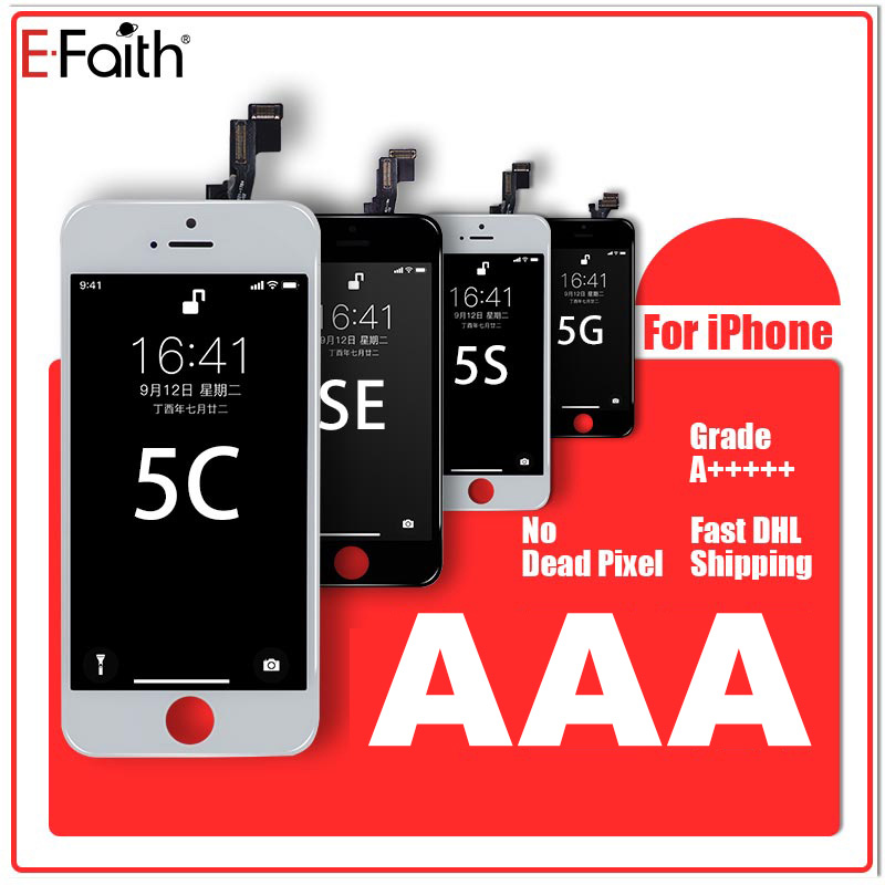 10pcs E Faith Top Quality LCD AAAA No Dead Pixel Display For iPhone 5s 5c 5