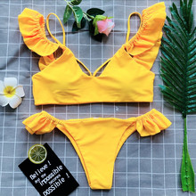 2019 new bikini pop European and American sexy split Lotus leaf edge pure color women's bikinis swimsuit swimwear
