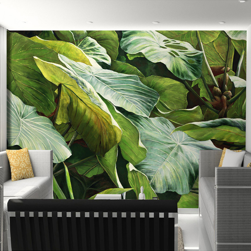 Custom Mural Wallpaper Southeast Asian Tropical Jungle Foliage Large Leaves Oil Painting For Living Room Decoration Wallpaper  free shipping large mural wallpaper villa living room ceiling european oil painting wallpaper