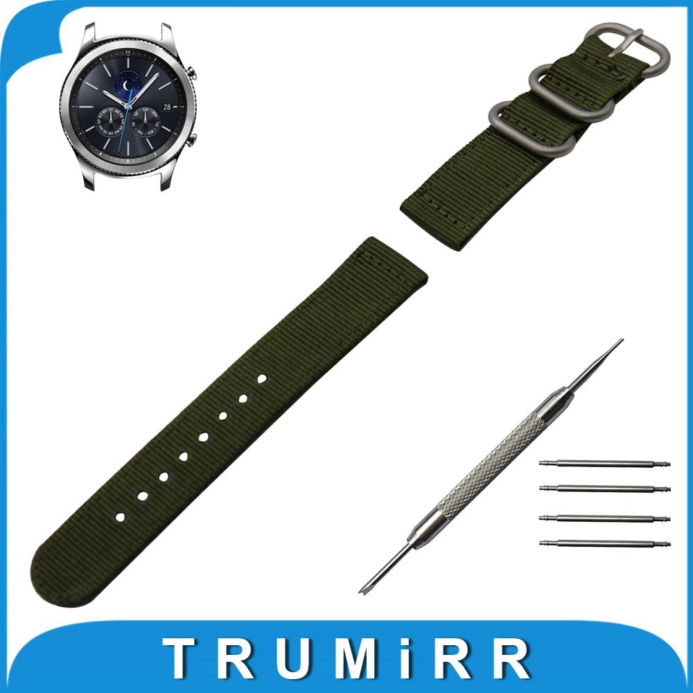22mm Nylon Watch Band for Samsung Gear S3 Classic / Frontier Zulu Fabric Strap Wrist Belt Bracelet Black Gray Blue Brown Green