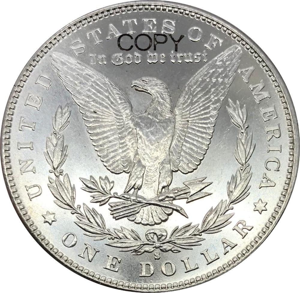 1 шт., 1 долл. США, морганский доллар, 1894 с, Мельхиор, посеребренные копировальные монеты