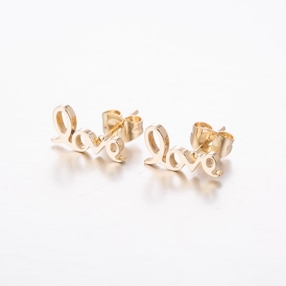 Yiustar Love Alphabet Stainless Steel Stud Earrings Women Lovely Letter Earrings for Girls Jewelry Girlfriend Everyday Fashion