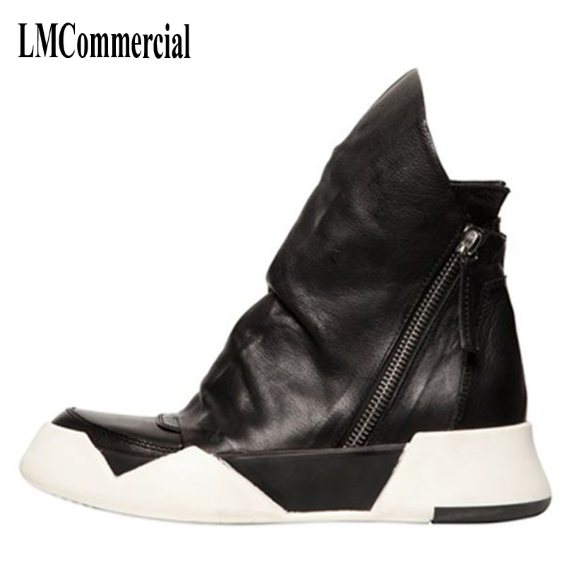 Mens Boots Leather fashion casual shoes men boots Korean high
