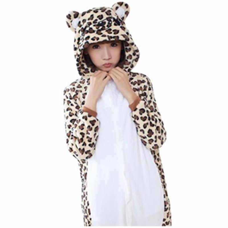 Leopard Медведь Комбинезоны унисекс взрослых животных Пижама фланель  Толстовка Косплэй костюм комбинезон панда пижамы для сна ebef827688dc8