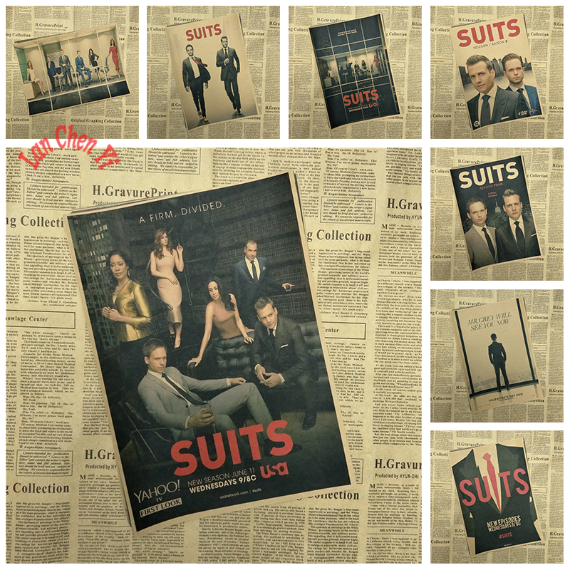 TV play Suits Nostalgic Matte Kraft Paper Poster Office Gift Room Dining Home Decor wall sticker Design