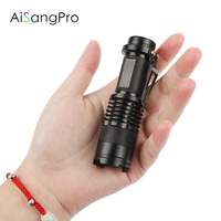 AiSangPro Powerful Led Flashlight Cree Q5 14500 Battery Mini Tactical Led Torch Light for Self Defense Camping Mini Flashlights