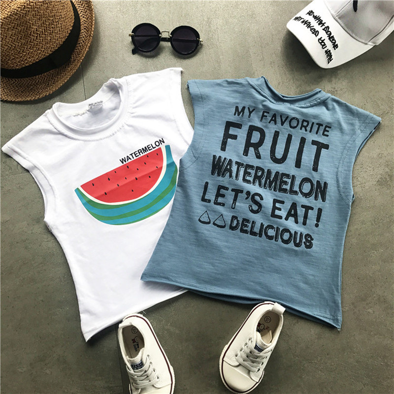 bc62392b3e12 DFXD Baby Boy Clothing Set 2018 Summer Fashion Sleeveless Cartoon Watermelon  Print Vest Shirt+Jeans Pants 2pc Kids Set 2 8Y-in Clothing Sets from Mother  ...