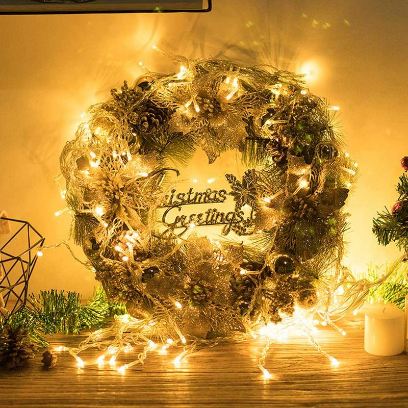 Christmas Wreath Ornamental Garland Simulation Flower Whole Small Solar Circle Light Colour Wheat In Wreaths Garlands From
