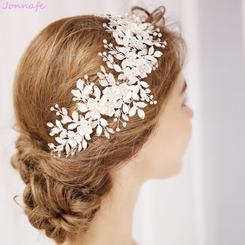 Jonnafe Fashion Bridal White Leaf Crown Women Prom Tiara Headband Rhinestone Wedding Hair Piece Accessories Jewelry slit back pencil skirt with strap page 9