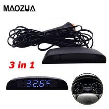4aa8034f370a LED COCHE reloj LCD Digital termómetro de temperatura del voltímetro del  reloj de electrónica relojes de tiempo para vehículos t.